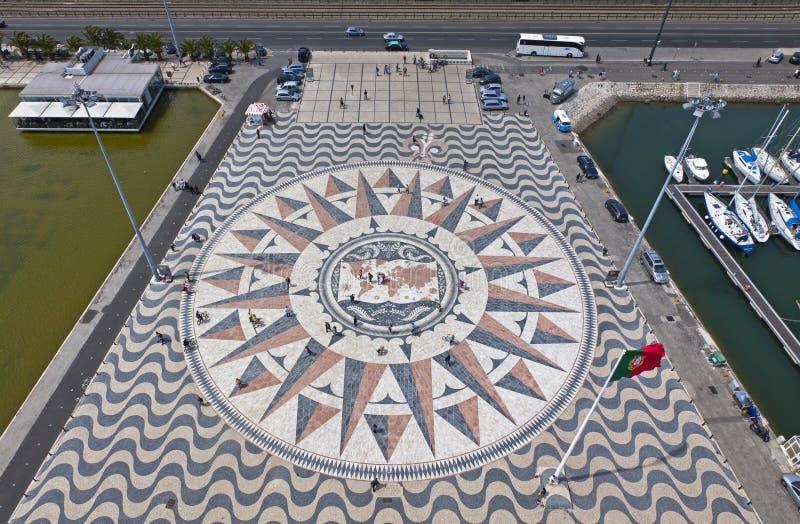 Carte de mosaïque des découvertes portugaises à Belem, Lisbonne, Portu photographie stock libre de droits