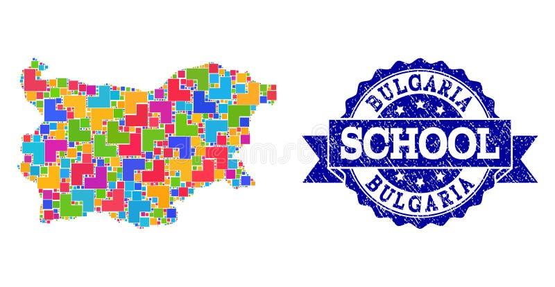 Carte de mosaïque de la Bulgarie et affliger le collage de timbre d'école illustration stock
