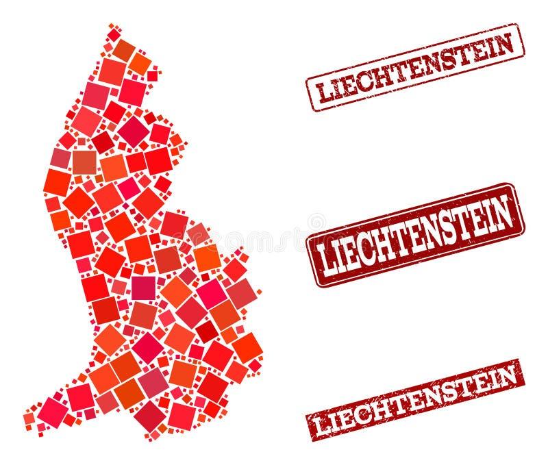 Carte de mosa?que de la Liechtenstein et du collage texturis? de joint d'?cole illustration stock