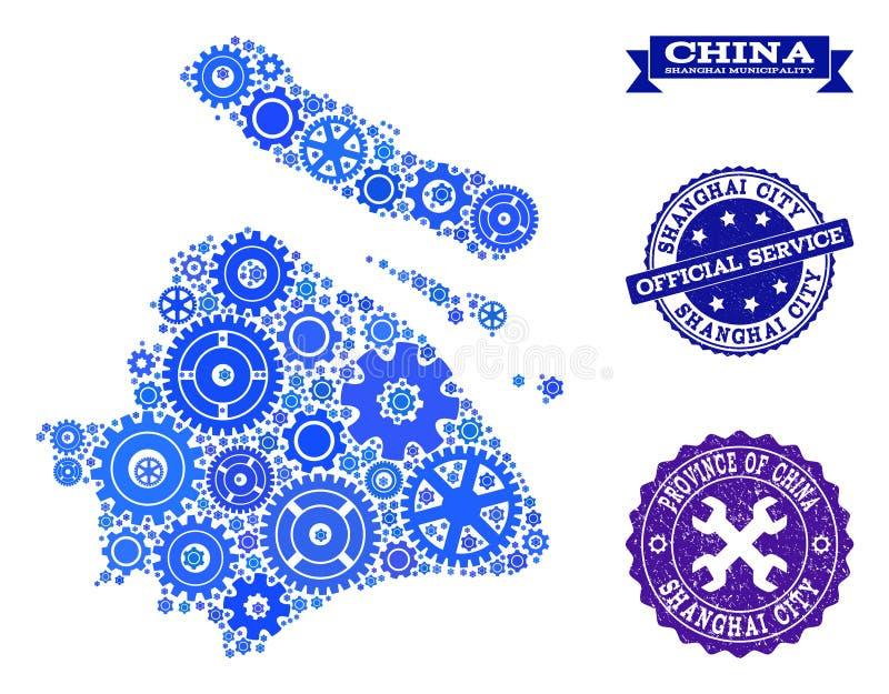 Carte de mosaïque de municipalité de Changhaï avec des roues de vitesse et des joints grunges pour des services illustration libre de droits