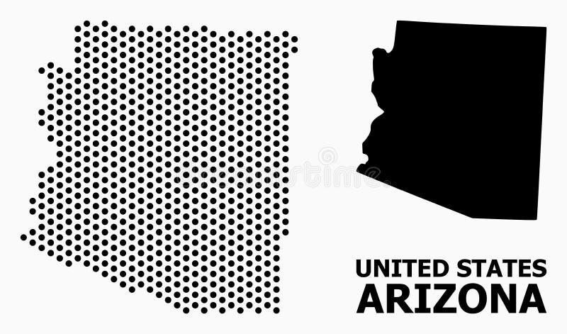 Carte de mosaïque pointillée d'état de l'Arizona illustration stock