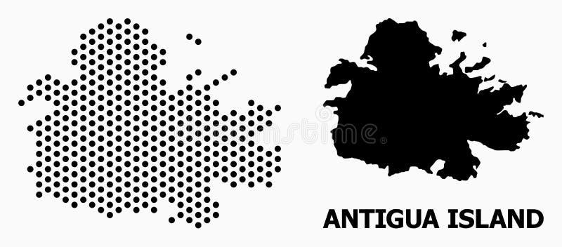 Carte de mosaïque pointillée d'île de l'Antigua illustration libre de droits