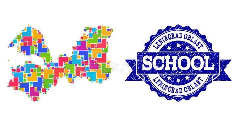 Carte de mosaïque de région de Léningrad et de collage grunge de timbre d'école illustration de vecteur