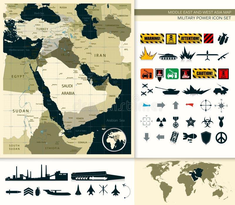 Carte de Moyen-Orient et de l'Asie illustration libre de droits