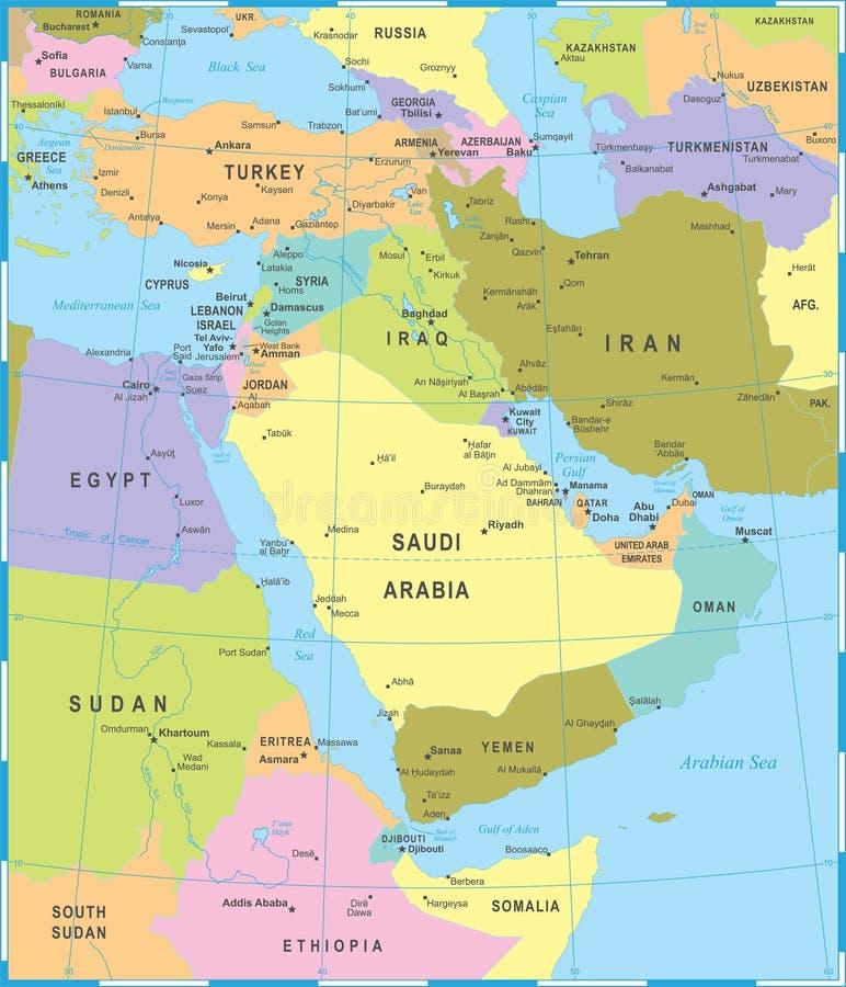 Carte de Moyen-Orient - illustration de vecteur illustration stock
