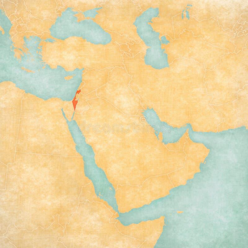 Carte de Moyen-Orient - l'Israël illustration stock