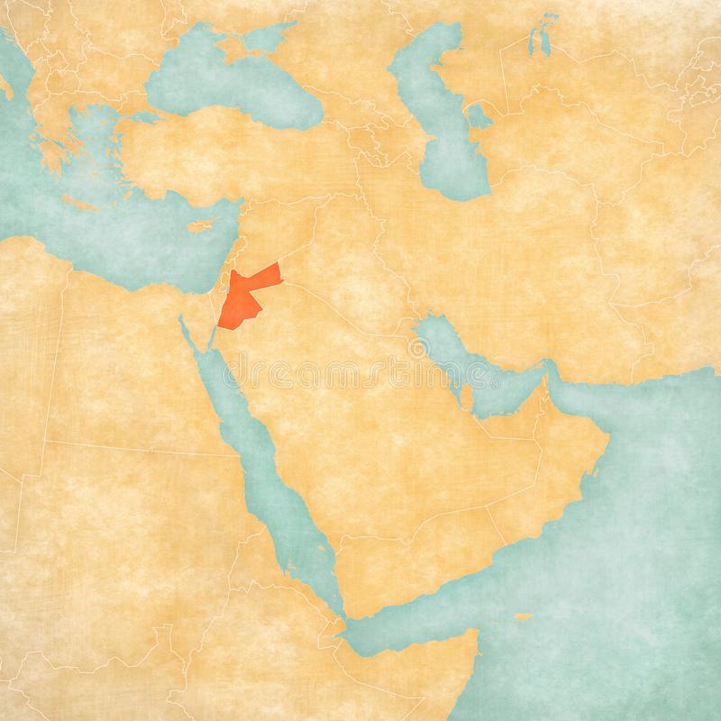 Carte de Moyen-Orient - la Jordanie illustration libre de droits