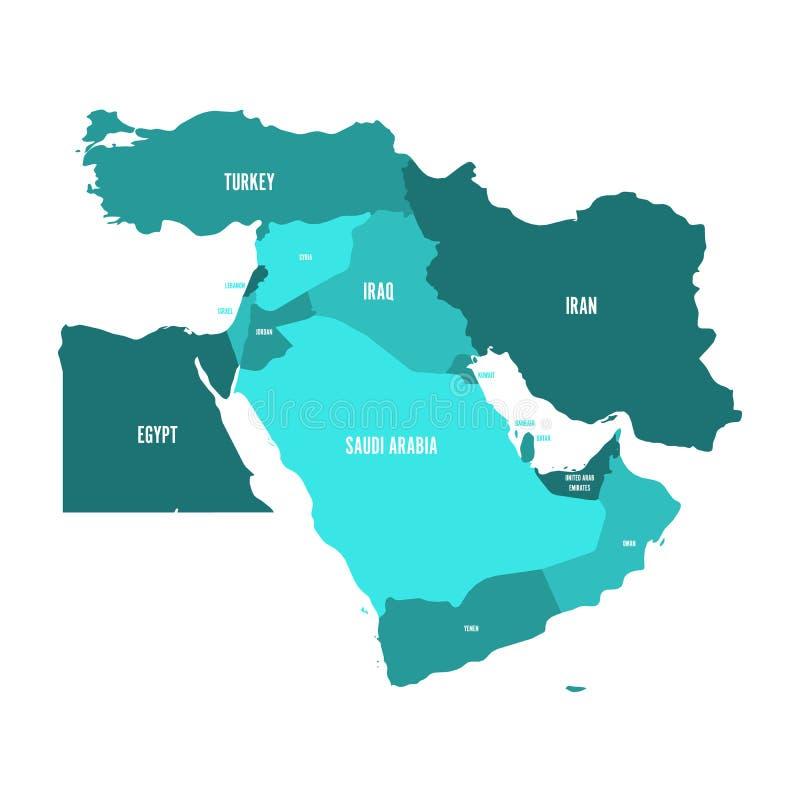 Carte de Moyen-Orient, ou du Proche-Orient, aux nuances du bleu de turquoise Ilustration plat simple de vecteur illustration libre de droits