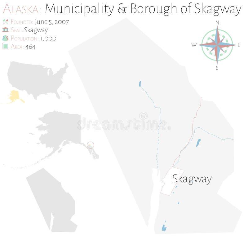 Carte de municipalit? et ville de Skagway en Alaska illustration libre de droits