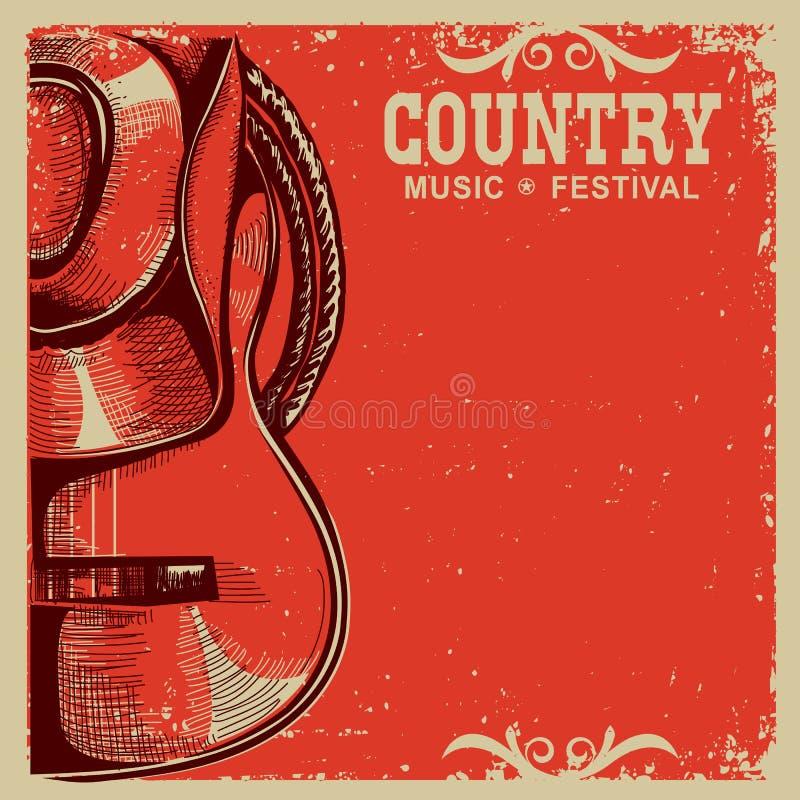 Carte de musique country avec le chapeau et la guitare de cowboy sur le vieux papier illustration stock