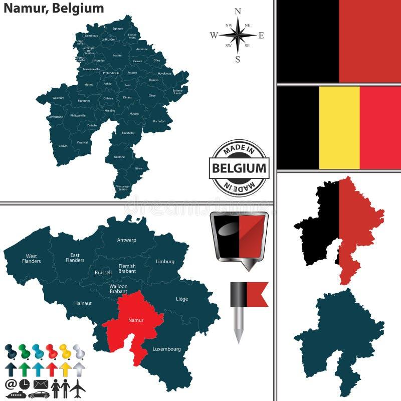 Carte de Namur, Belgique illustration stock