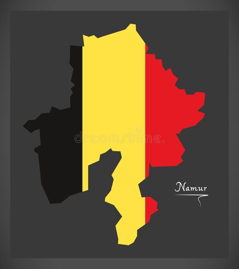 Carte de Namur de la Belgique avec l'illustration belge de drapeau national illustration stock