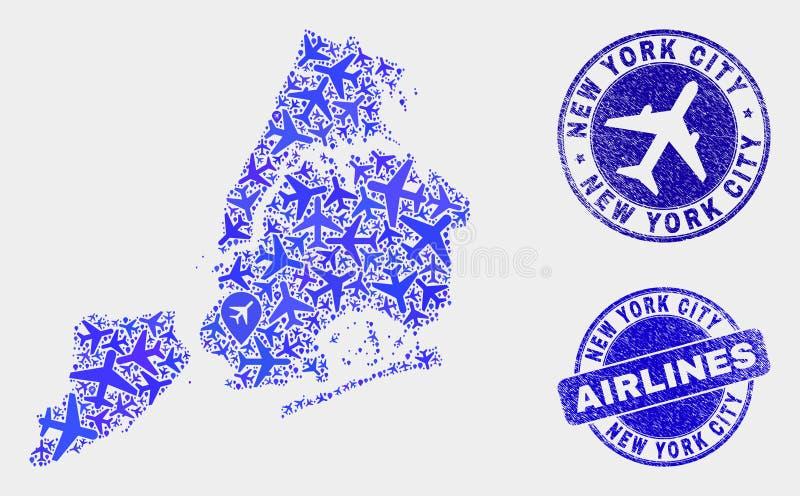 Carte de New York City de vecteur de mosaïque de lignes aériennes et joints grunges illustration stock