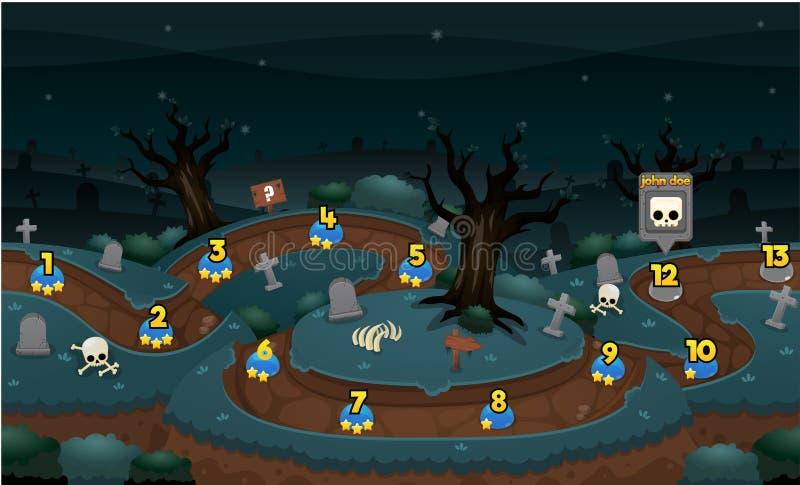Carte de niveau de jeu effrayant de cimetière illustration de vecteur