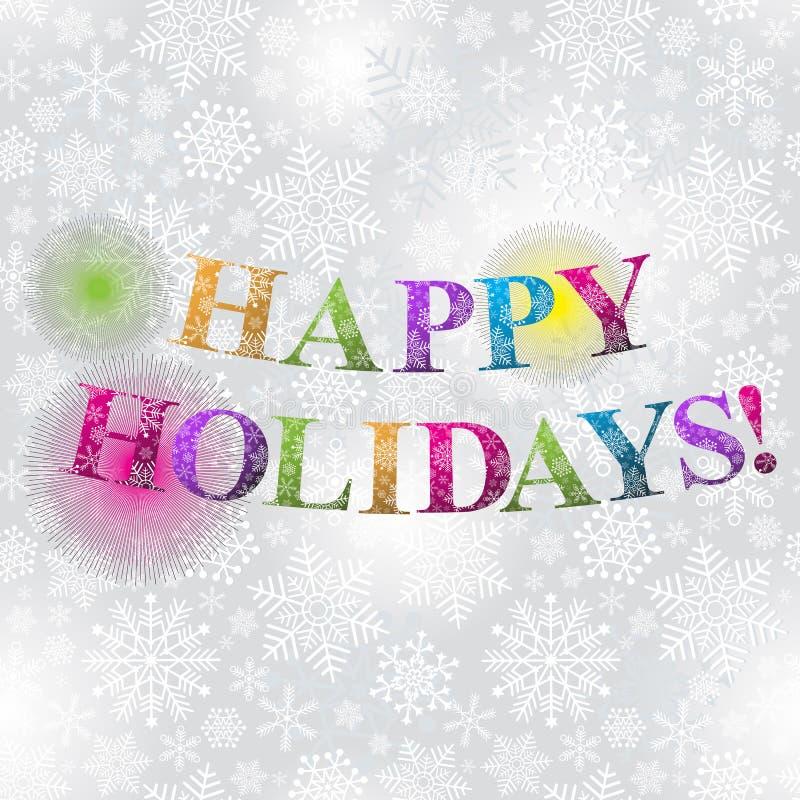 Carte de Noël argentée avec des flocons de neige illustration stock