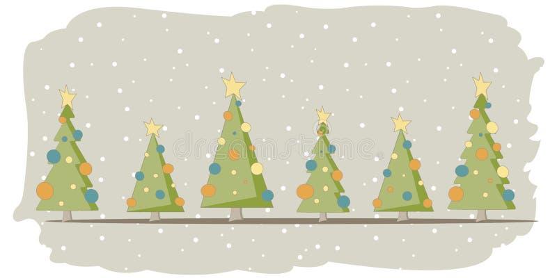 Carte de Noël avec 6 arbres et neige illustration libre de droits