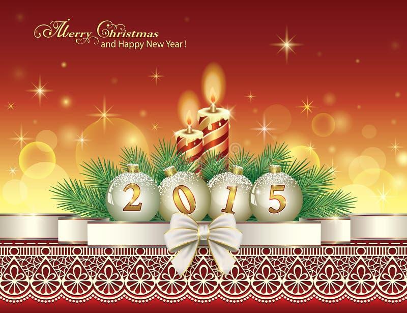 Download Carte De Noël Avec 2015 Avec Des Boules Et Des Bougies Illustration de Vecteur - Illustration du scintillement, collants: 45355396