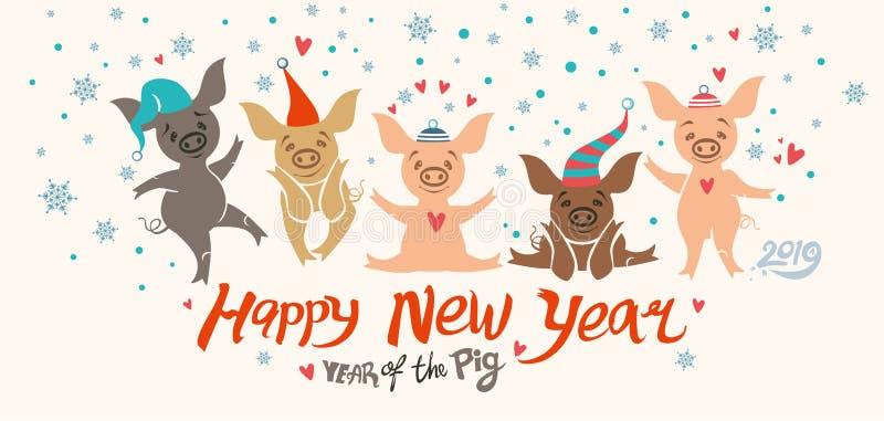 Carte de Noël avec cinq porcs mignons de bande dessinée dans des chapeaux de vacances illustration de vecteur