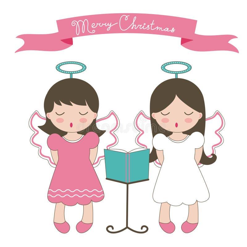 Carte de Noël avec de petits anges illustration de vecteur