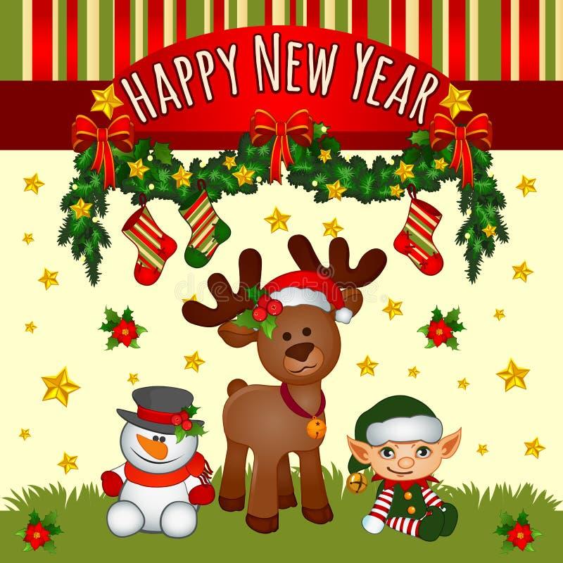 Carte de Noël avec des aides de Santa, équipe mignonne illustration libre de droits