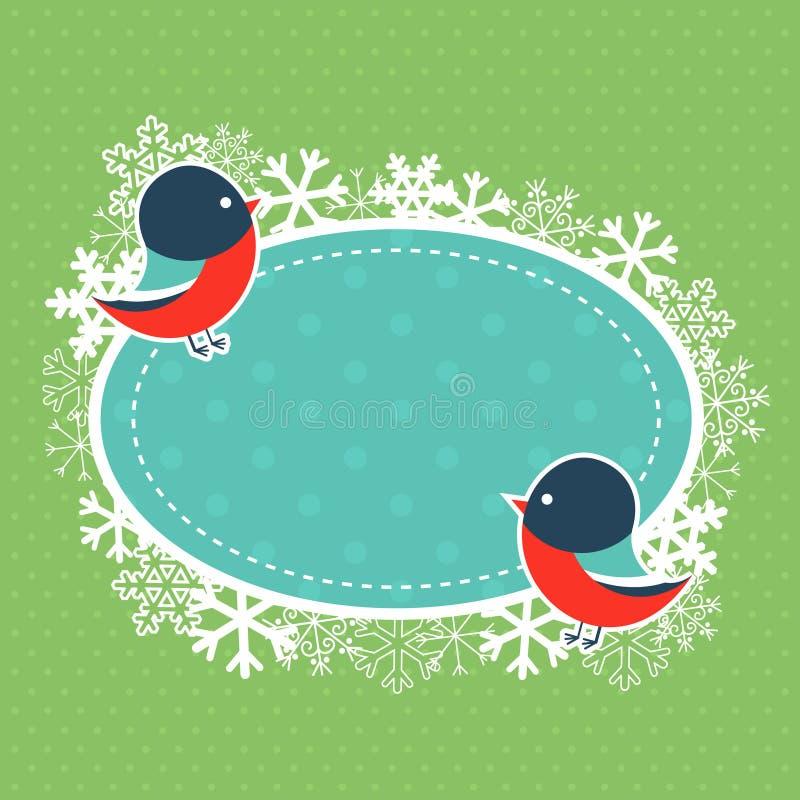 Carte de Noël avec des bouvreuils de bande dessinée illustration stock