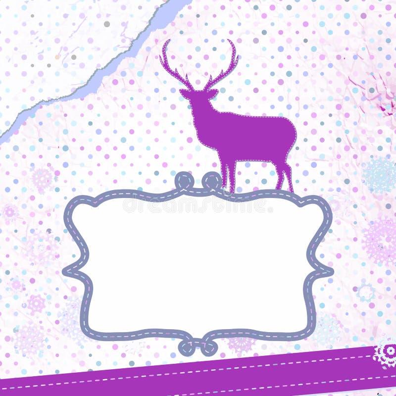 Carte de Noël avec des cerfs communs illustration stock