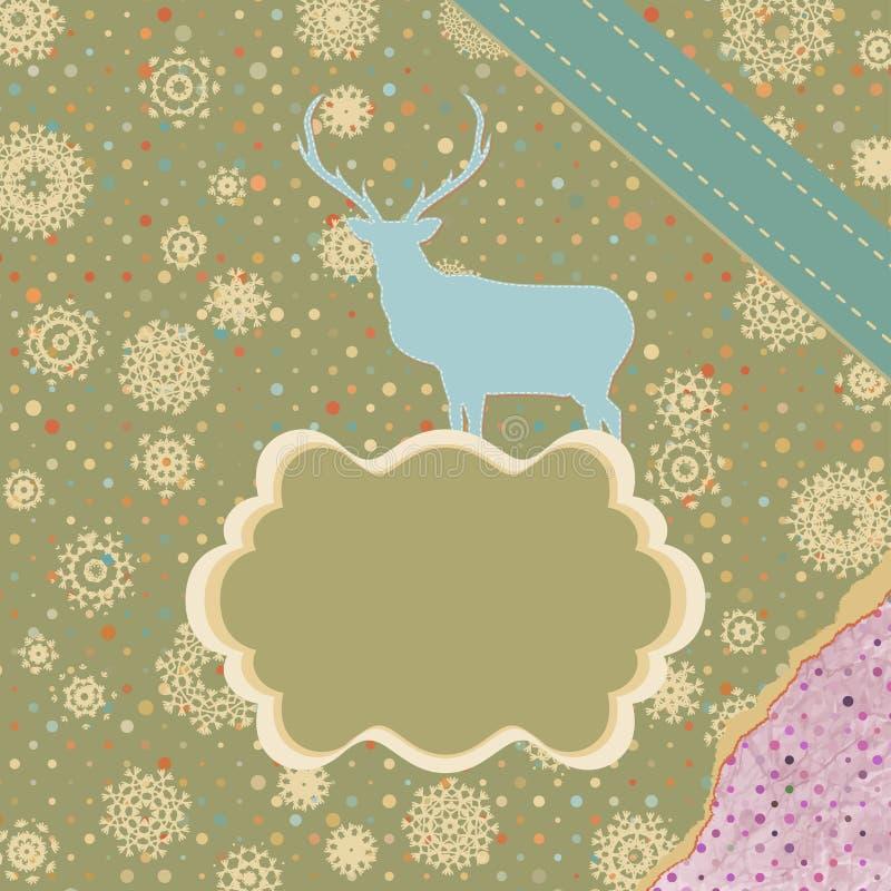 Carte de Noël avec des cerfs communs. ENV 8 illustration de vecteur