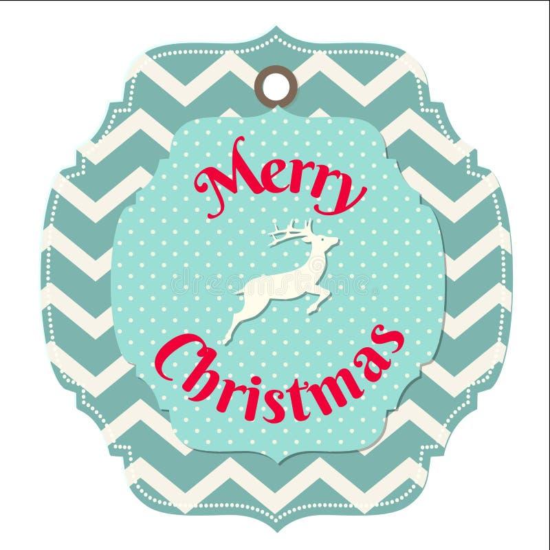 Carte de Noël avec des cerfs communs sur le modèle de chevron illustration stock