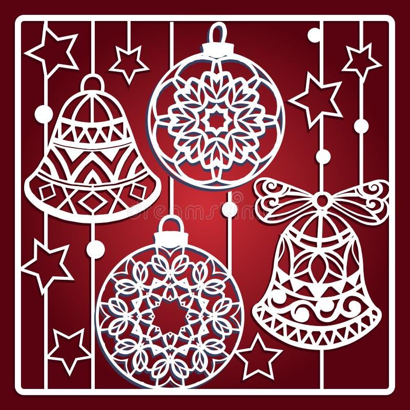 Carte de Noël avec des cloches pour la coupe de laser photo stock