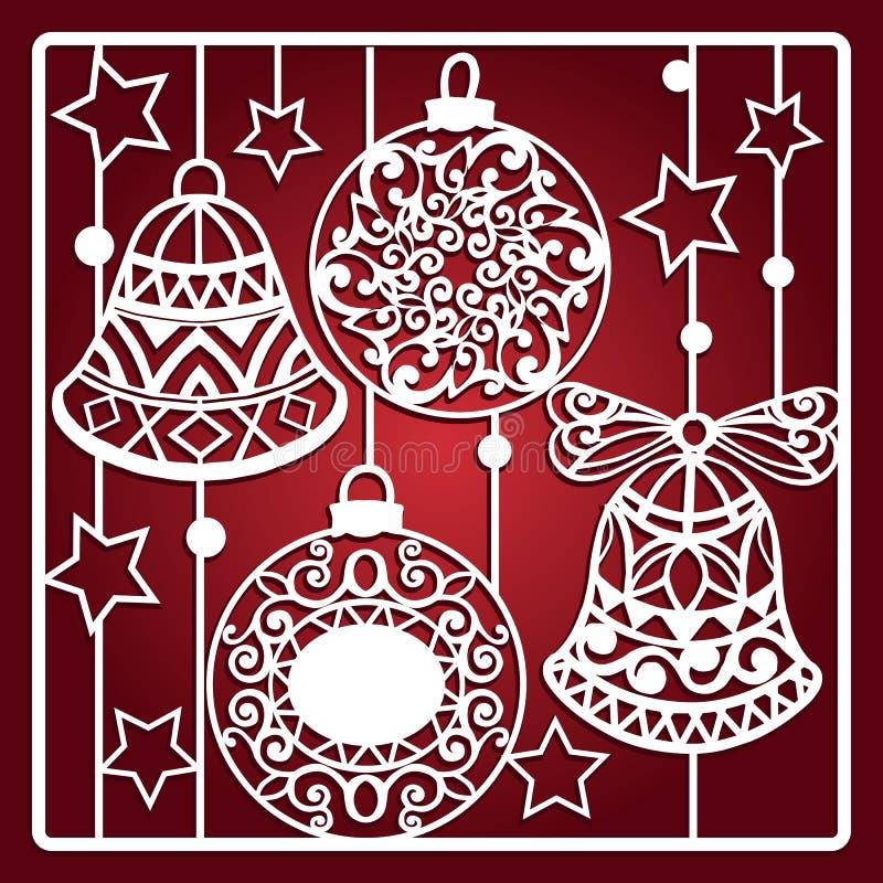 Carte de Noël avec des cloches pour la coupe de laser Calibre de coupe de laser Cadeau de Noël pour le découpage du bois, la coup illustration de vecteur