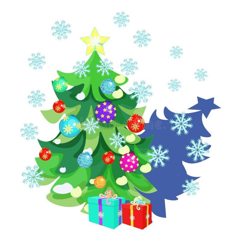 Download Carte De Noël Avec Des Jouets, Cadeaux, Arbre De Noël, Flocons De Neige Illustration de Vecteur - Illustration du positionnement, brin: 77163448