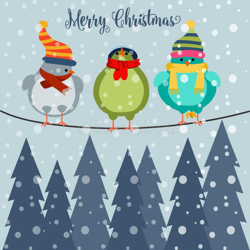 Carte de Noël avec des oiseaux sur le fil illustration de vecteur