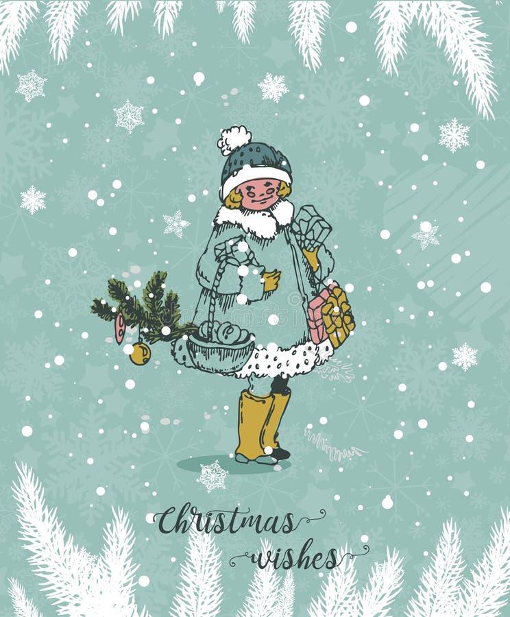 Carte de Noël avec des souhaits chauds dans le style tiré par la main de cru Flocons de neige et branches de pin mignons sous la  illustration de vecteur