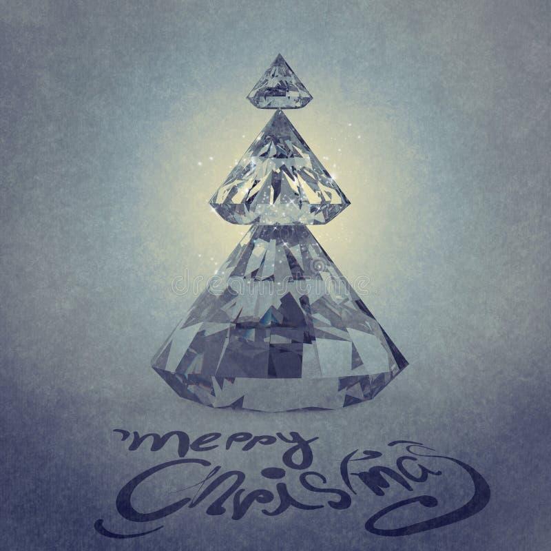 Carte de Noël avec l'arbre de Noël de diamants images libres de droits