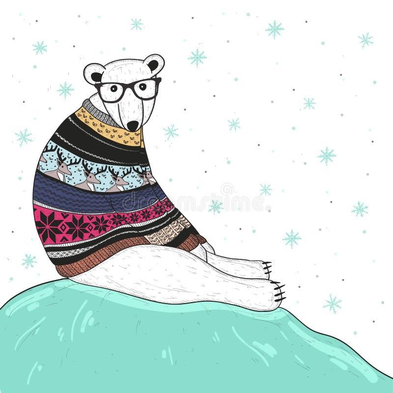 Carte de Noël avec l'ours blanc de hippie mignon illustration de vecteur