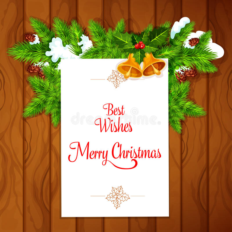 Carte de Noël avec la baie de houx sur le fond en bois illustration stock