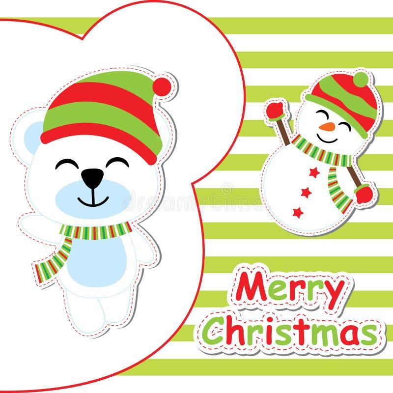 Carte de Noël avec la bande dessinée mignonne d'ours et de bonhomme de neige sur le fond rayé vert, la carte postale de Noël, le  illustration libre de droits