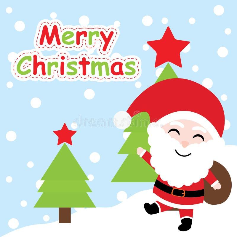 Carte de Noël avec la bande dessinée mignonne de Santa Claus sur le fond d'arbre de Noël, la carte postale de Noël, le papier pei illustration de vecteur