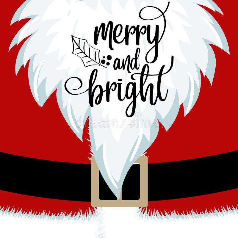 Carte de Noël avec la barbe et le costume de Santa illustration de vecteur