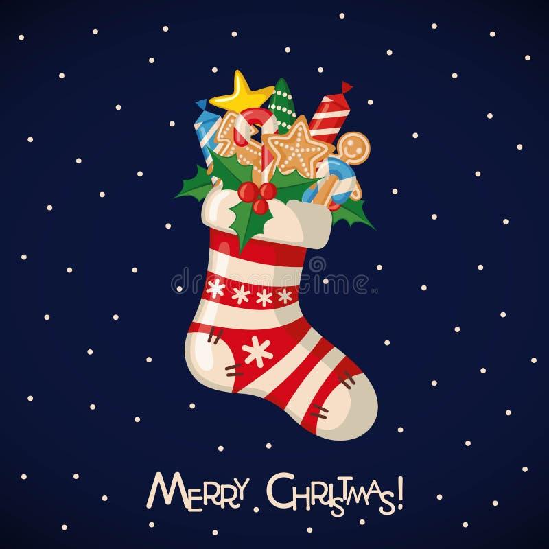 Carte de Noël avec la chaussette pleine des cadeaux illustration stock