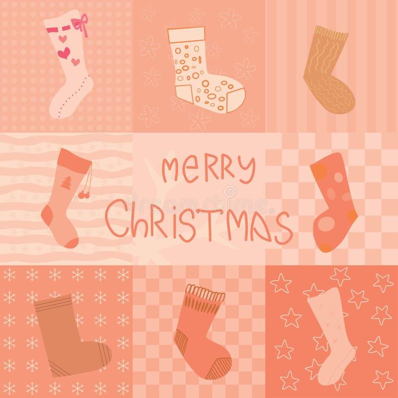 Carte de Noël avec la collection de chaussettes illustration stock