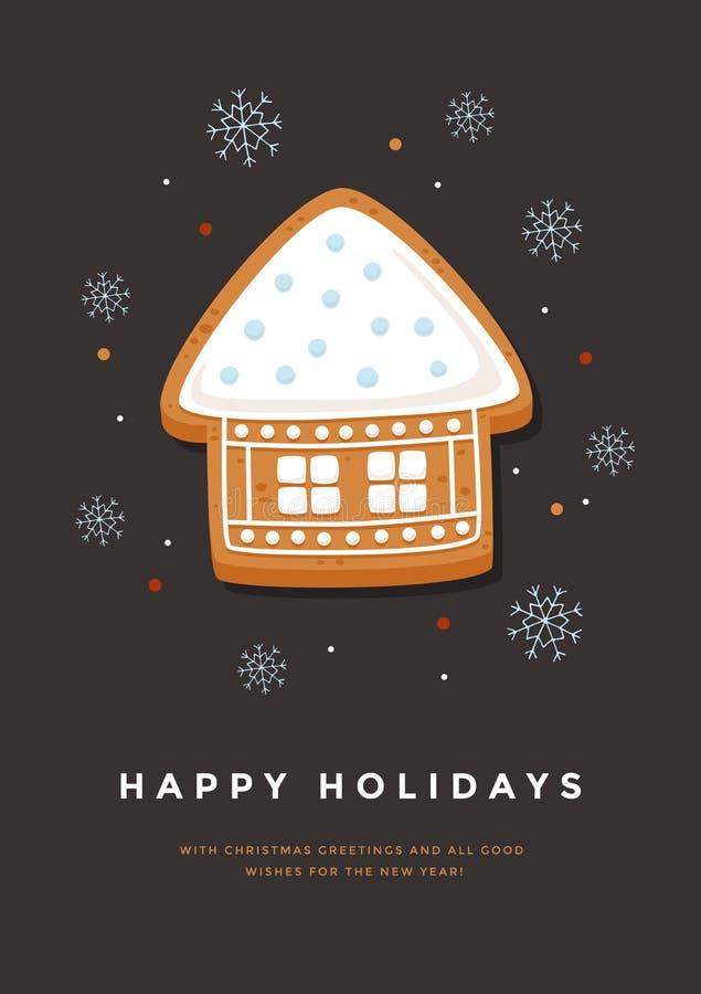 Carte de Noël avec la maison et l'inscription de pain d'épice bonnes fêtes illustration de vecteur