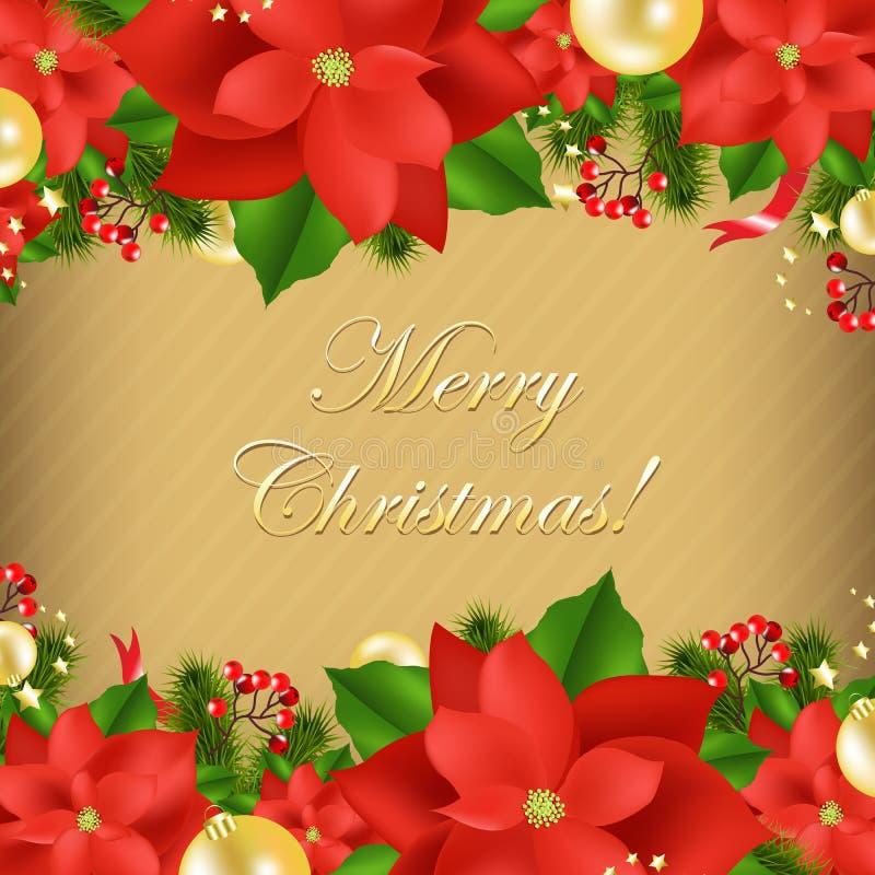 Carte de Noël avec la poinsettia illustration de vecteur