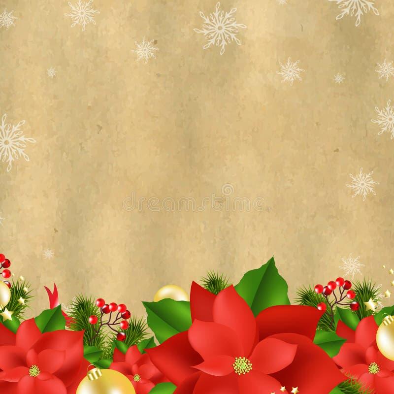 Carte de Noël avec la poinsettia illustration stock
