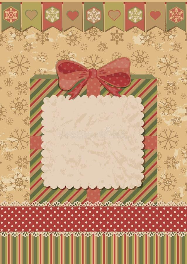 Carte de Noël avec le boîte-cadeau illustration stock
