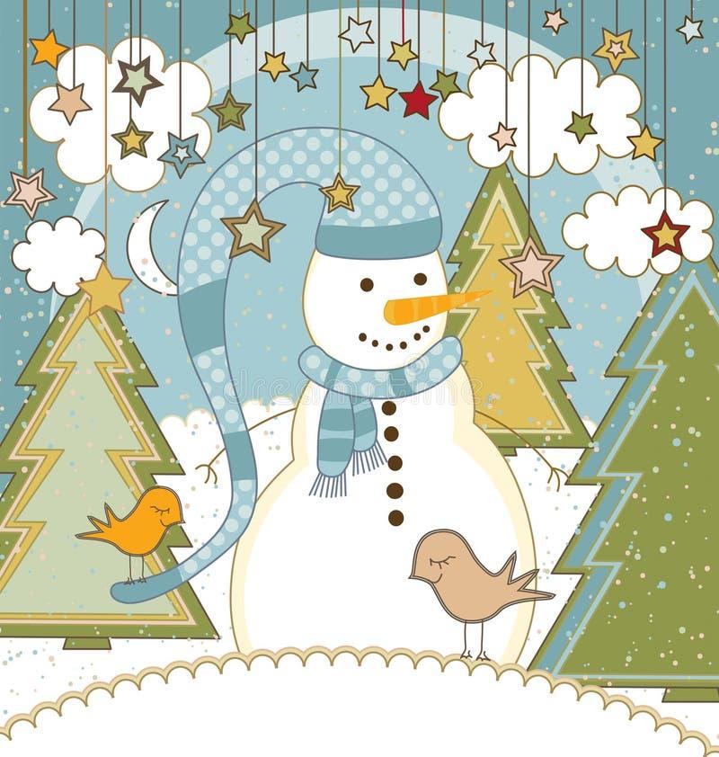 Carte de Noël avec le bonhomme de neige illustration de vecteur