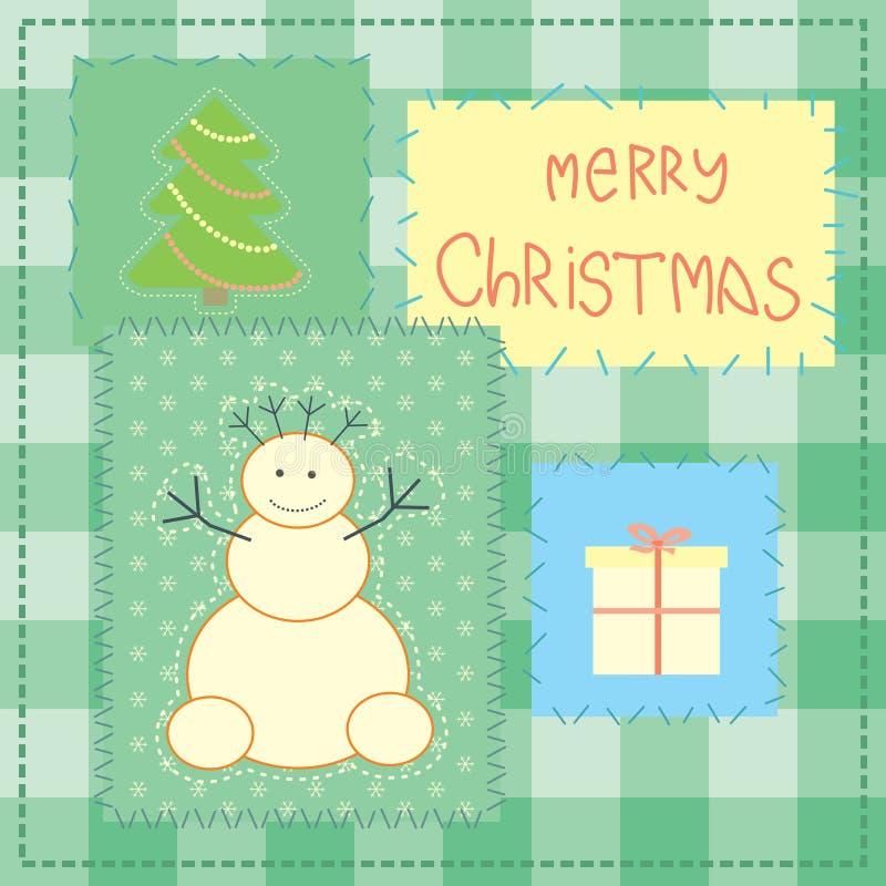 Carte de Noël avec le bonhomme de neige de patchwork illustration stock