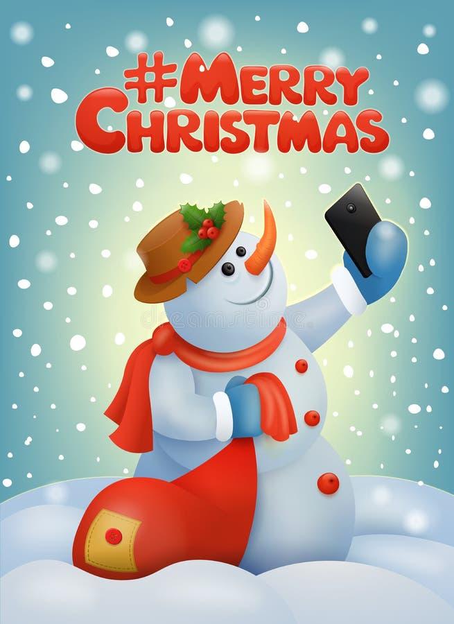 Carte de Noël avec le bonhomme de neige faisant le selfie illustration de vecteur