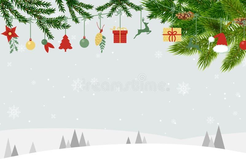 Carte de Noël avec le fond et les ornements bleus de Santa illustration stock