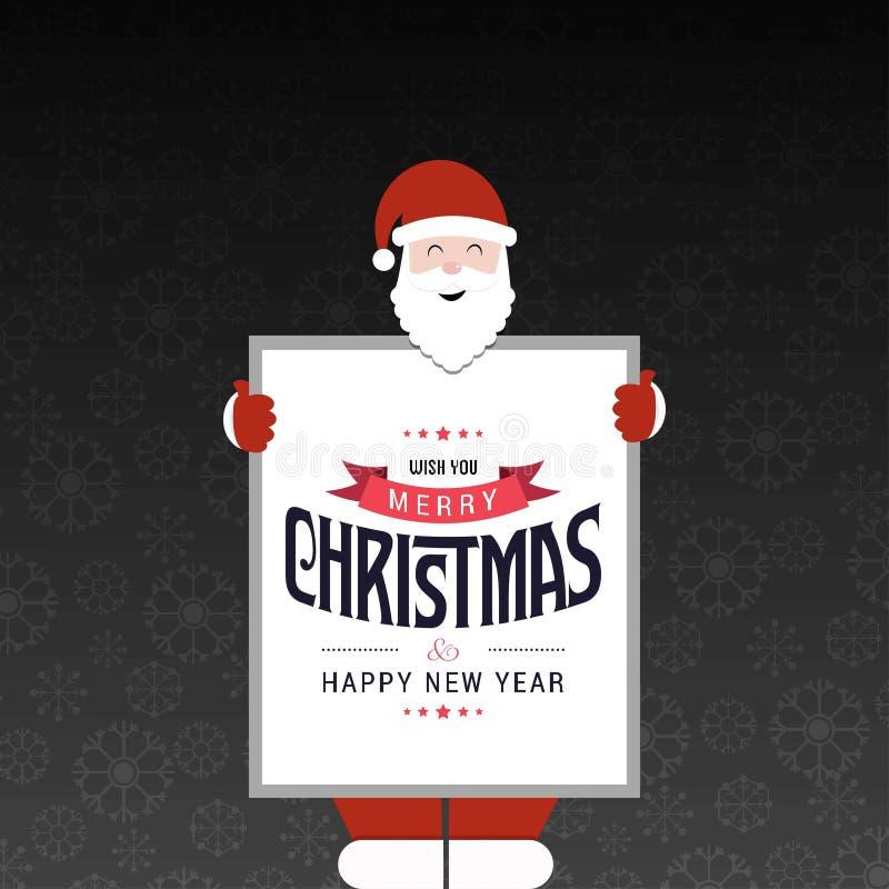 Carte de Noël avec le modèle d'obscurité du père noël illustration stock